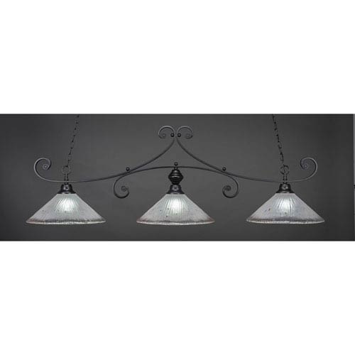 Toltec Lighting Curl Matte Black 16-Inch Three Light Billiard Bar with Frosted Crystal Glass