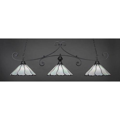 Curl Matte Black 16-Inch Three Light Billiard Bar with Pearl Flair Tiffany Glass