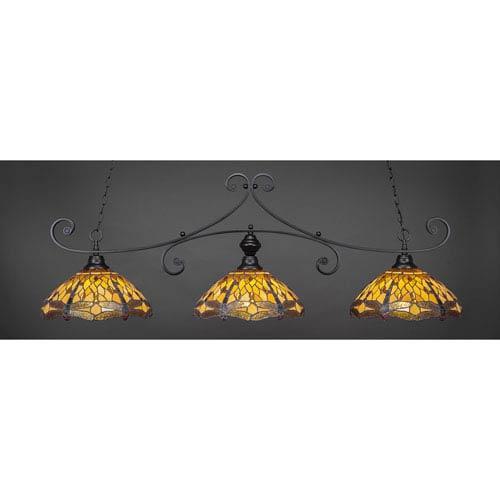 Toltec Lighting Curl Matte Black 16-Inch Three Light Billiard Bar with Amber Dragonfly Tiffany Glass