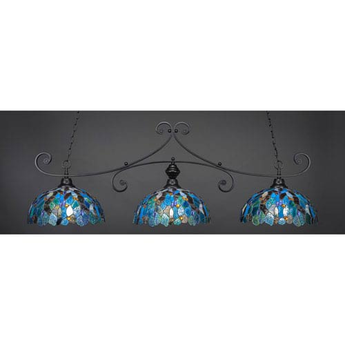 Toltec Lighting Curl Matte Black 16-Inch Three Light Billiard Bar with Blue Mosaic Tiffany Glass
