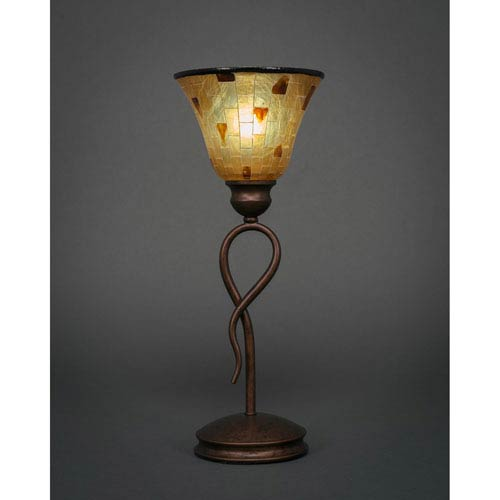 Toltec Lighting Leaf Bronze One-Light Mini Table Lamp with Penshell Shade