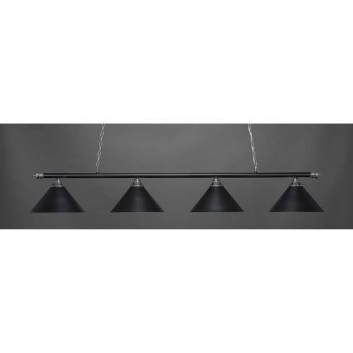 Oxford Chrome and Matte Black Four-Light Island Pendant with Blue Italian Glass