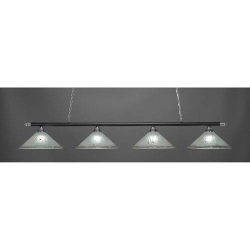 Oxford Chrome and Matte Black Four-Light Island Pendant with Frosted Crystal Glass