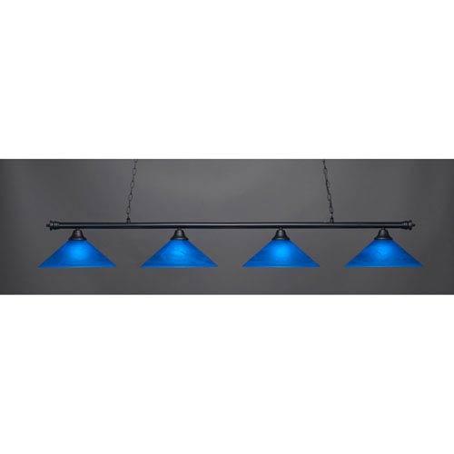 Oxford Matte Black Four-Light Island Pendant with Blue Italian Glass
