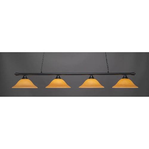 Oxford Matte Black Four-Light Island Pendant with Cayenne Linen Glass