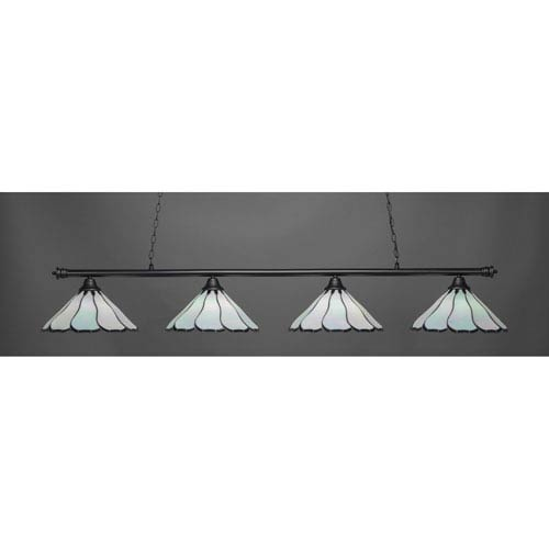Oxford Matte Black Four-Light Island Pendant with Pearl and Black Tiffany Glass