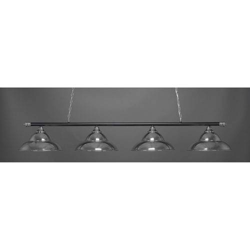 Oxford Chrome and Matte Black Four-Light Island Pendant with Metal Shade