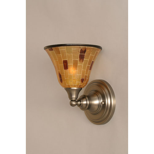 Toltec Lighting Brushed Nickel Wall Sconce with Penshell Resin shade
