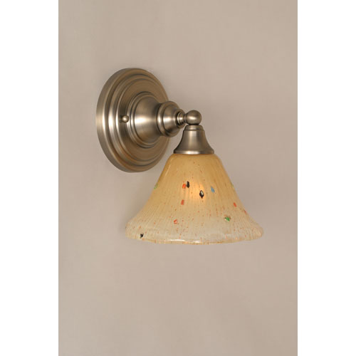 Brushed Nickel Wall Sconce with Amber Crystal Glass