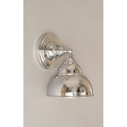 Chrome Wall Sconce with Double Bubble Metal shade