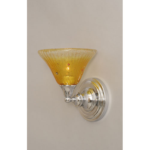 Chrome Wall Sconce with Wine Crystal Glass