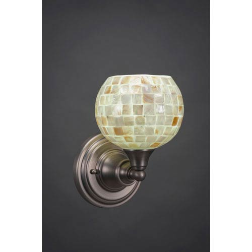 Brushed Nickel Wall Sconce with Seashell Glass