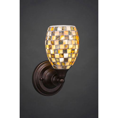 Toltec Lighting Bronze Wall Sconce with Seashell Glass