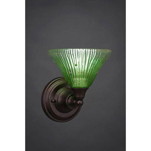 Bronze Wall Sconce with Kiwi Green Crystal Glass