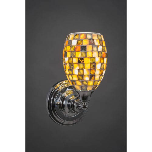 Toltec Lighting Chrome Wall Sconce with Seashell Glass