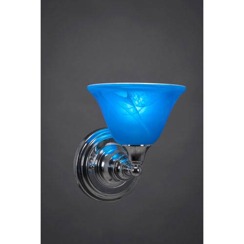 Chrome Wall Sconce with Blue Italian Crystal Glass