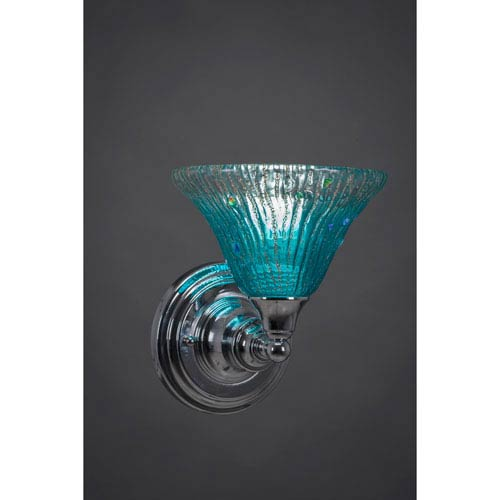 Chrome Wall Sconce with Teal Crystal Glass