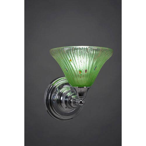 Chrome Wall Sconce with Kiwi Green Crystal Glass