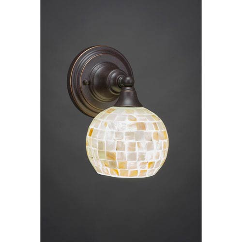 Dark Granite Wall Sconce with Seashell Glass