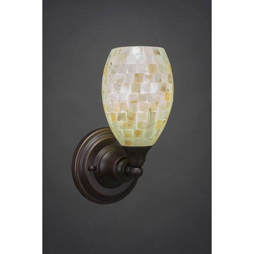 Dark Granite Wall Sconce with Seashell Glass