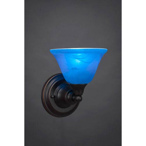 Dark Granite Wall Sconce with Blue Italian Crystal Glass