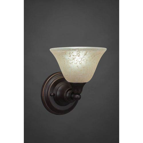 Dark Granite Wall Sconce with Amber Marble Glass