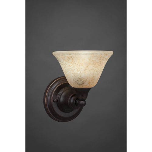 Dark Granite Wall Sconce with Italian Marble Glass
