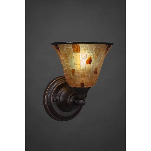 Dark Granite Wall Sconce with Penshell Resin shade