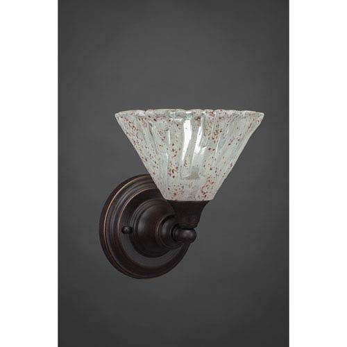 Toltec Lighting Dark Granite Wall Sconce with Italian Ice Glass