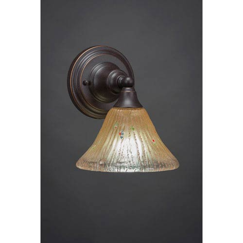 Dark Granite Wall Sconce with Amber Crystal Glass