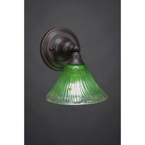 Dark Granite Wall Sconce with Kiwi Green Crystal Glass