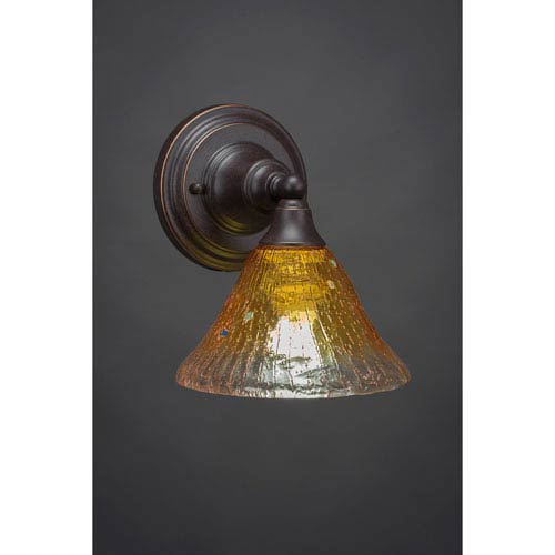 Dark Granite Wall Sconce with Wine Crystal Glass