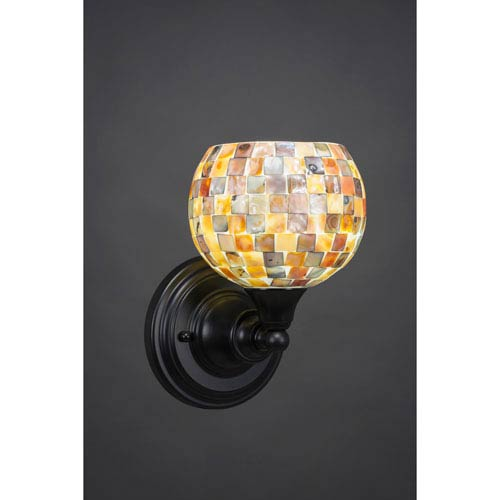 Toltec Lighting Matte Black Wall Sconce with 6-Inch Seashell Glass