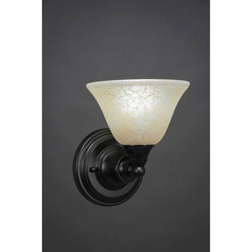 Toltec Lighting Matte Black Wall Sconce with 7-Inch Amber Marble Glass