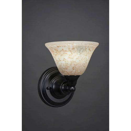 Toltec Lighting Matte Black Wall Sconce with 7-Inch Italian Marble Glass