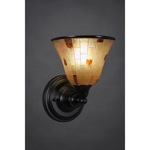 Toltec Lighting Matte Black Wall Sconce with 7-Inch Penshell Resin Shade
