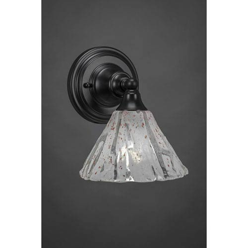 Toltec Lighting Matte Black Wall Sconce with 7-Inch Italian Ice Glass