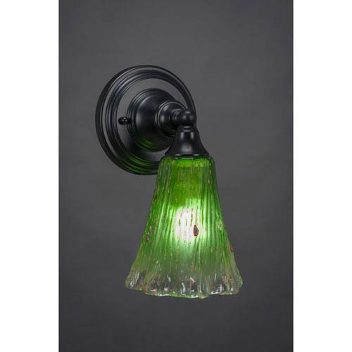 Toltec Lighting Matte Black Wall Sconce with 5.5-Inch Fluted Kiwi Green Crystal Glass