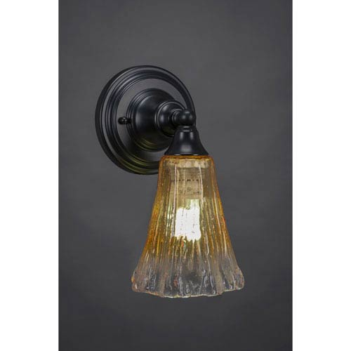 Toltec Lighting Matte Black Wall Sconce with 5.5-Inch Fluted Gold Champagne Crystal Glass
