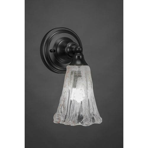 Matte Black Wall Sconce with 5.5-Inch Fluted Italian Ice Glass