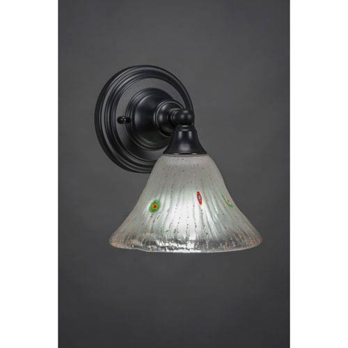 Toltec Lighting Matte Black Wall Sconce with 7-Inch Frosted Crystal Glass
