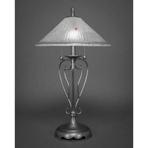 Brushed Nickel Two Light Table Lamp