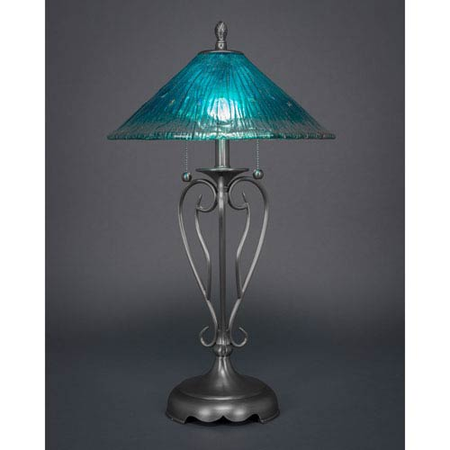 Delicieux Olde Iron Brushed Nickel Two Light Table Lamp With Teal Crystal Glass Shade