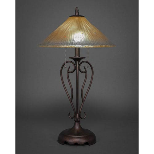 Olde Iron Bronze Two Light Table Lamp With Amber Crystal Glass Shade