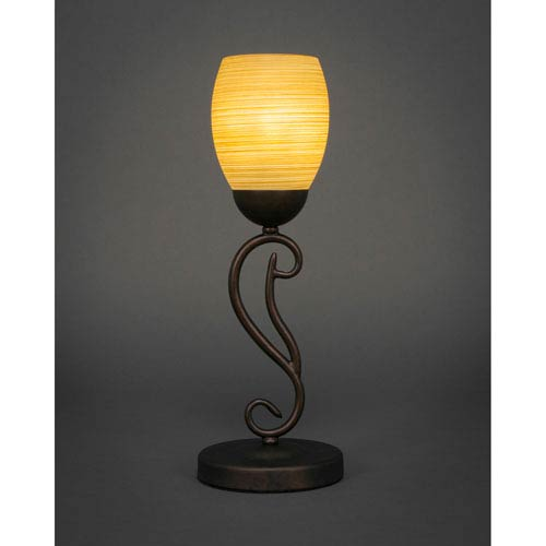 Toltec Lighting Olde Iron Bronze 5-Inch One Light Mini Table Lamps with Cayenne Linen Glass