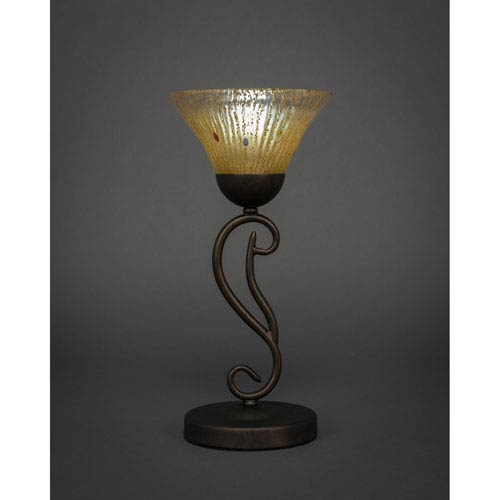 Mini accent table lamp bellacor toltec lighting olde iron bronze mini table lamp with amber crystal glass aloadofball Gallery