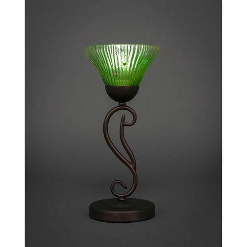 Amazing Toltec Lighting Olde Iron Bronze 7 Inch One Light Mini Table Lamps With  Kiwi Green