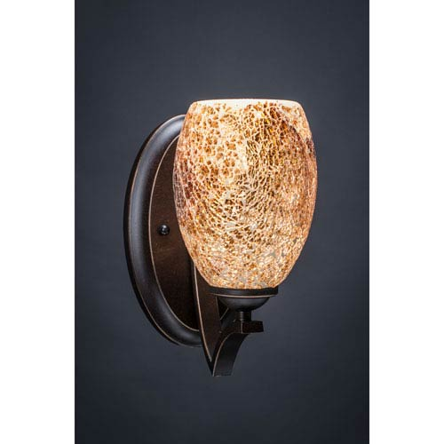 Zilo Dark Granite One-Light Wall Sconce with Gold Fusion Glass