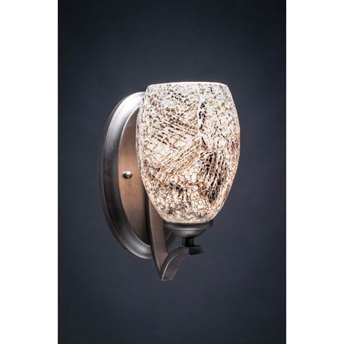 Toltec Lighting Zilo Graphite One-Light Wall Sconce with Natural Fusion Glass