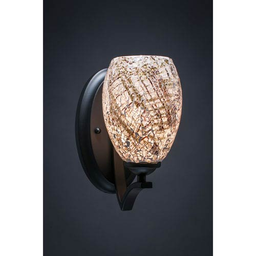 Zilo Matte Black One-Light Wall Sconce with Natural Fusion Glass